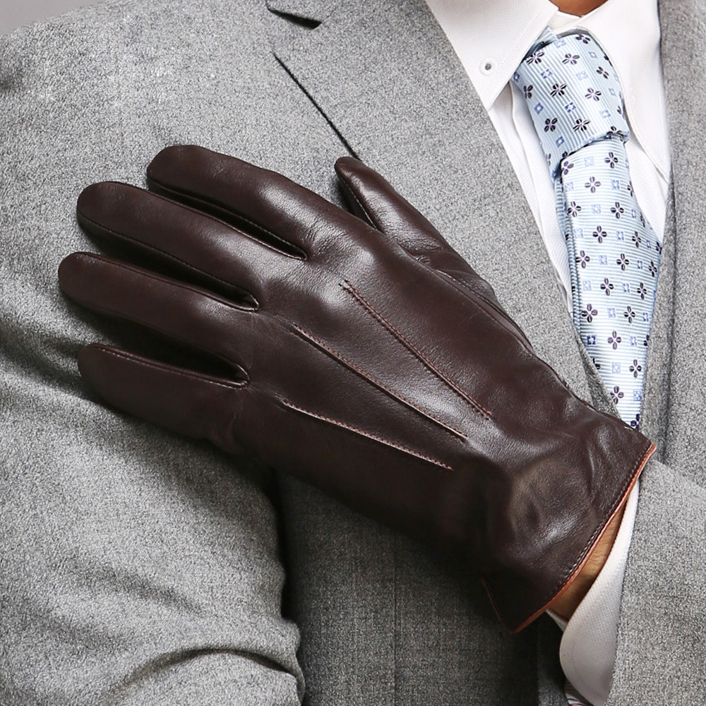 Mens leather gloves thin - Top Quality Genuine Leather Gloves For Men Thermal Winter Touch Screen Sheepskin Glove Fashion Slim Wrist