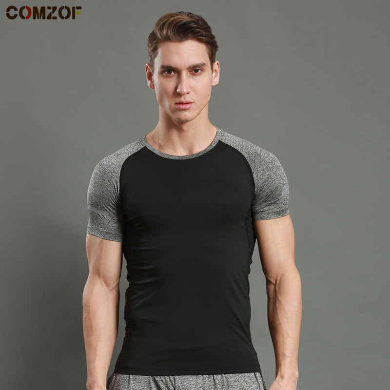 Hot sale men sports training t shirt short sleeve patchwork tights quick dry mens fitness gym bodybuilding tshirt camiseta in Trainning Exercise T shirts from Sports Entertainment