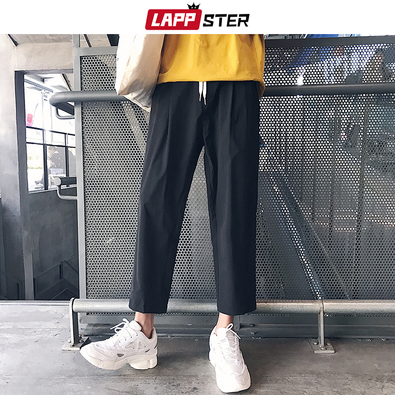 LAPPSTER Men Korean Style Harem Pants 2020 Summer Casual Solid Joggers Pants Black Sweatpants Fashions Ankel-length Trousers 2XL