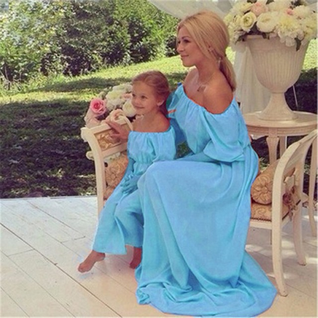 MVUPP mother daughter dresses matching family look 3 color solid solid bohemia becah maxi baby girl dress mommy and me clothes 2
