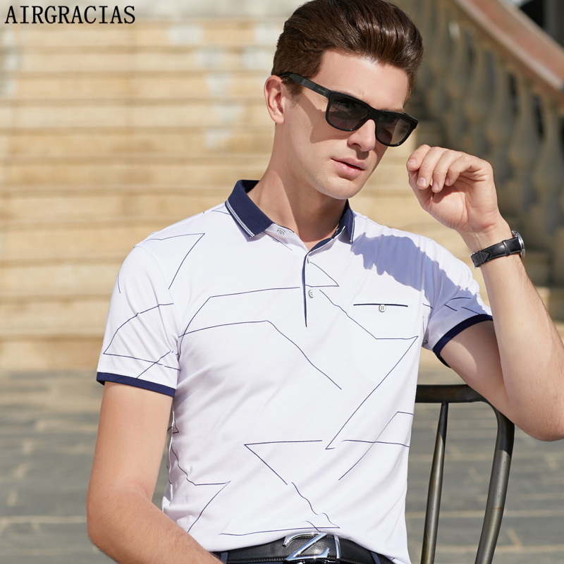 AIRGRACIAS   Polo   Shirt Men Summer Cotton Printed   POLO   Shirts Brands Short Sleeve Camisas Elasticity   Polo   Male   Polo   Shirts