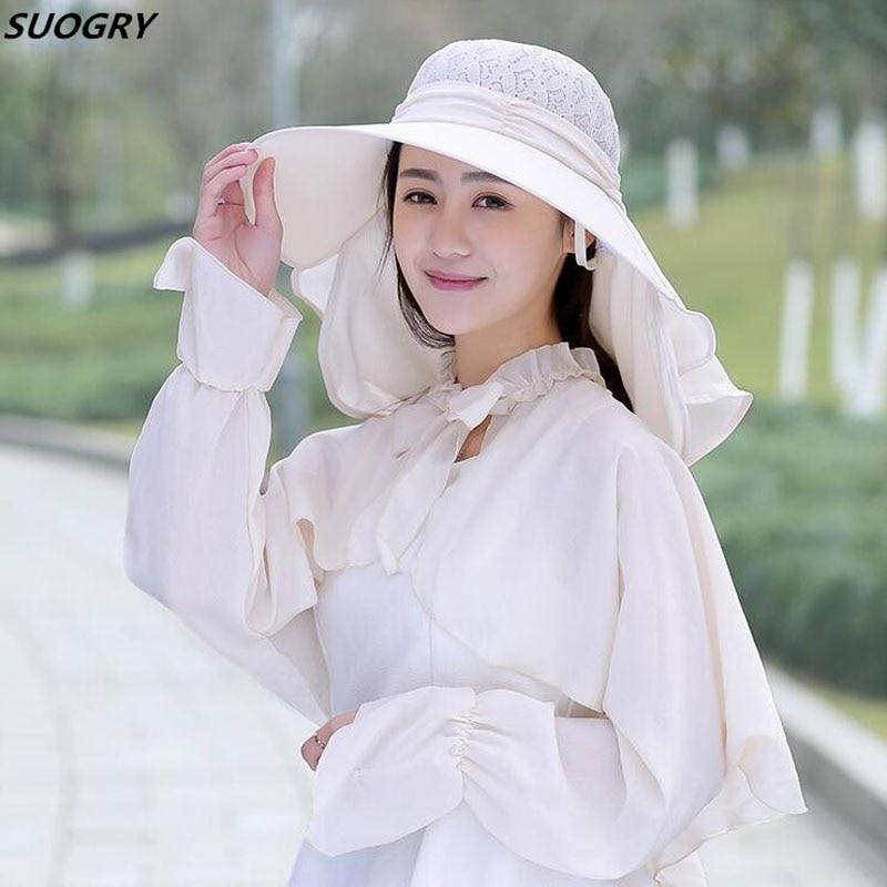 SUOGRY Fashion Summer Ladies Hollow Top Sun Hat Women Anti UV Sunscreen Wrap Shawl Suits