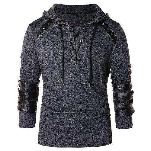 Yozihis Mode Homme Simili Cuir à Lacets Sweat À Capuche Pour Petit Ami Nouveau Style Sweat à Capuche Avec Cordon Pull Sweat Manches Longues