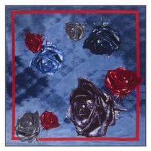 Big Rose Luxury Brand 100% Twill Silk Scarf Woman Square 2019 New Kerchief Shawl Water Drops Blue Enchantress Echarpe