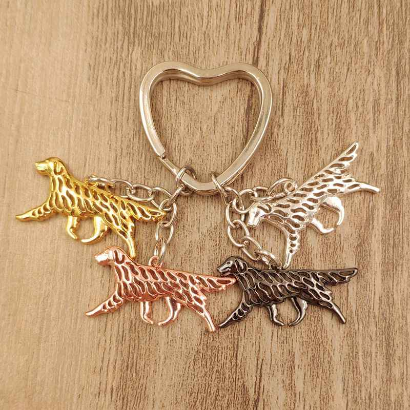 2019 New Fashion Flat-Coated Retriever Dog Animal Cute Gold Silver Plated Keychain For Bag Car Women Men Love Christmas Day K189
