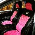 Envío gratis lujo corona del Rhinestone de la PU de cuero Universal asiento de coche cojín 4 unids juegos - Rose negro