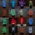 7 Цветов Звездные Войны Супер Hero 3D СВЕТОДИОДНЫЕ Настольные Лампы игрушки Домашнее Украшение Изменения Свет Бэтмен Железный Человек Дэдпул Ниндзя супермен