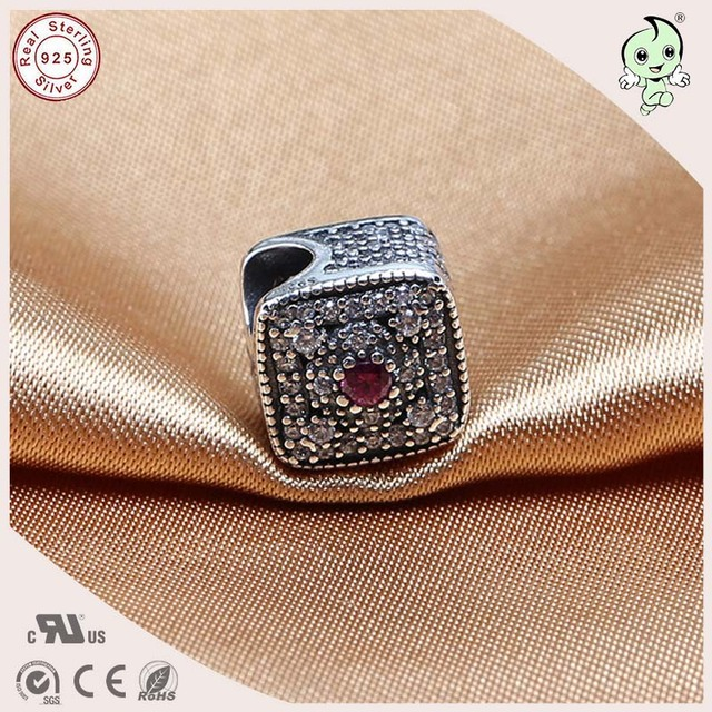 Newest Arrival Autumn Series Brand Top Quality Full Stone Paving 925 Sterling Siver Dice Charm Fitting European Famous Bracelet