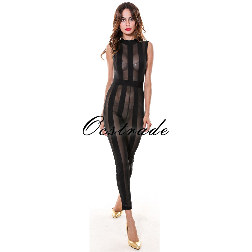 Ocstrade New Fashion Jumpsuits For Women 2017 Sexy Mesh Bodycon Black Bandage Jumpsuit Rayon Spandex Clubwear HL
