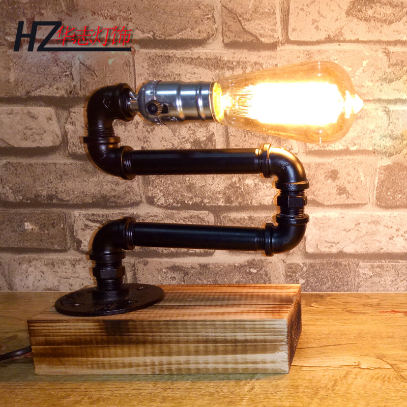 factory hot style restoring ancient ways American individuality bedroom telescopic wood base pipe lamp work barfactory hot style restoring ancient ways American individuality bedroom telescopic wood base pipe lamp work bar