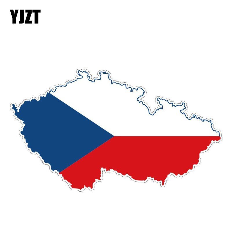 YJZT 14.8CM*8.5CM Personality Czech Republic  Map Flag Car Sticker Bike Decal 6-1185