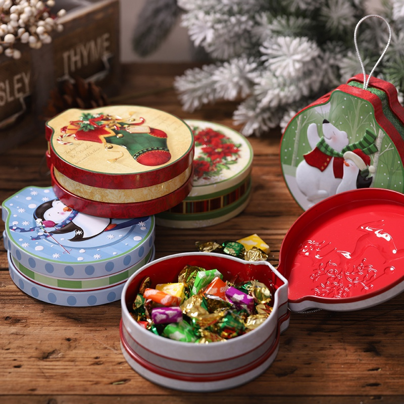 New Christmas Embossing Tinplate Empty Tins With Hanging Rope Candy Cookie Gift Storage Container Decorative Box