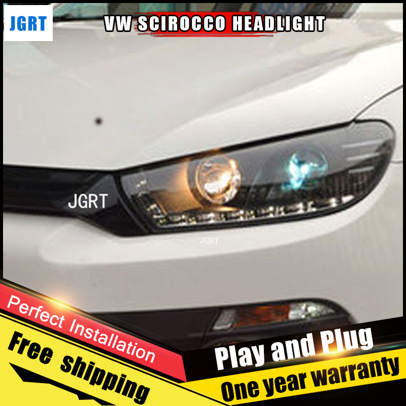2PCS Car Style LED headlights for VW Scirocco for Scirocco head lamp LED DRL Lens Double Beam H7 HID Xenon bi xenon lens for volkswagen polo mk5 vento cross polo led head lamp headlights 2010 2014 year r8 style sn
