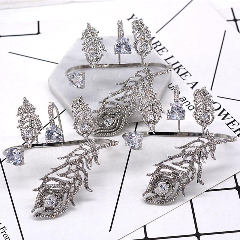 Bracelet de luxe en cristal argent plume Bracelet de paume femmes fille couleur or blanc manchette à la main mode brillant strass Bracelet bijoux - 5
