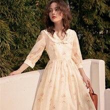Заднем дворе французский Винтаж принты плюс и минус два способы ношения шифоновые платья