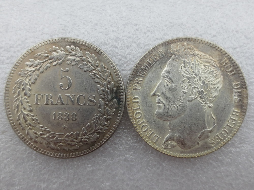 Belgium 1838 leopold Premier Roi Des Belges 5 Francs Copy Coins