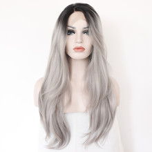 Grey Silver Two Tone Ombre Natural Straight Wigs With Dark Roots High Quality Synthetic Lace Front Wig Heat Resistant Fiber Hair
