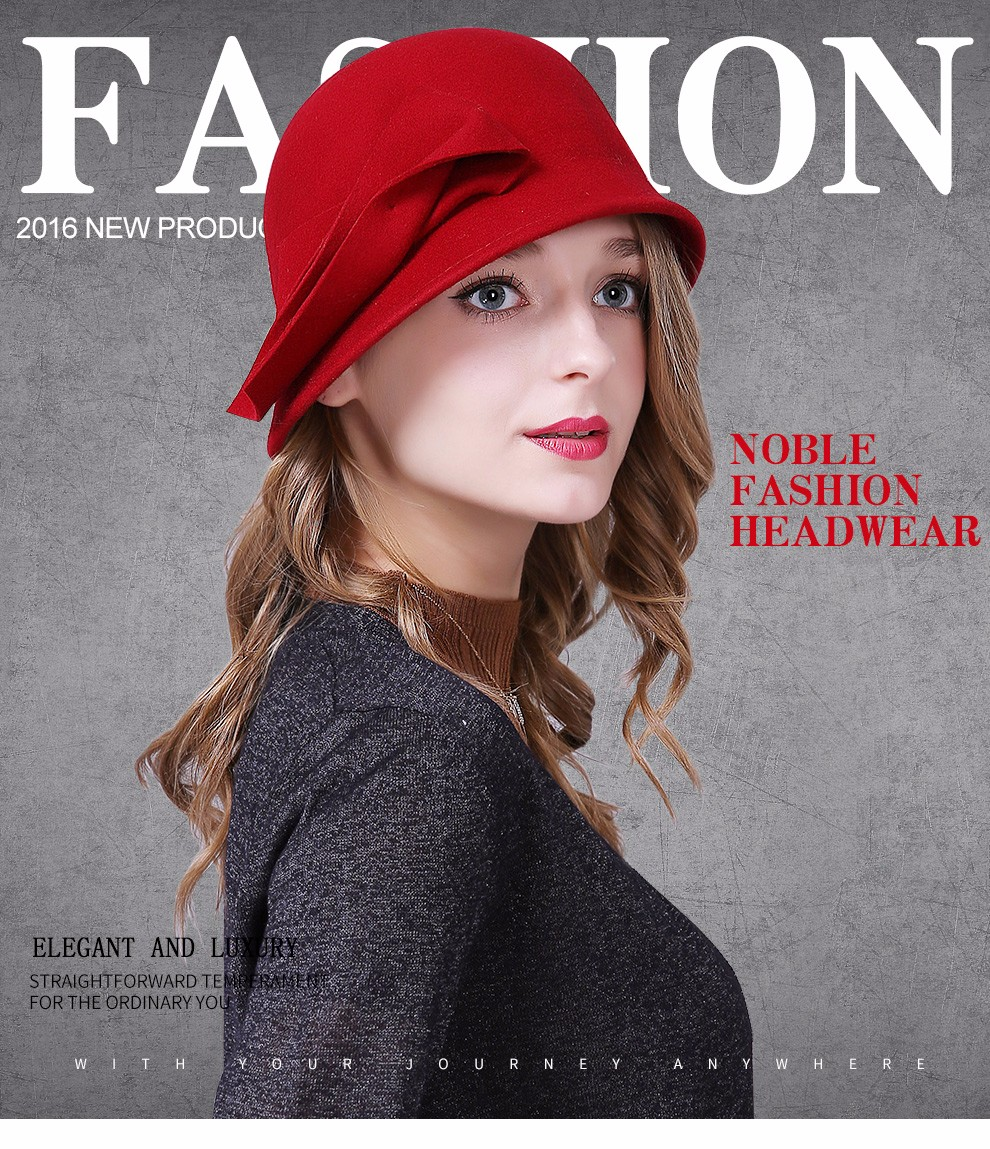 3baea0046d1 Women s Sedancasesa Autumn Winter Hat Female England Wool Felt Hat Ret