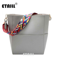 ETAILL Pu Leather Bucket Bag with Colorful Strap Wide High Quality Patchwork Women Crossbody Bag Casual Tote Bag Shopping Bags