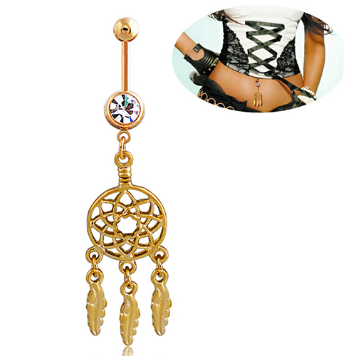 be287020288 Bluelans Designed Brand Dream Catcher Navel Barbell Rhinestone Piercing  Belly Button Ring Gold-tone Bar
