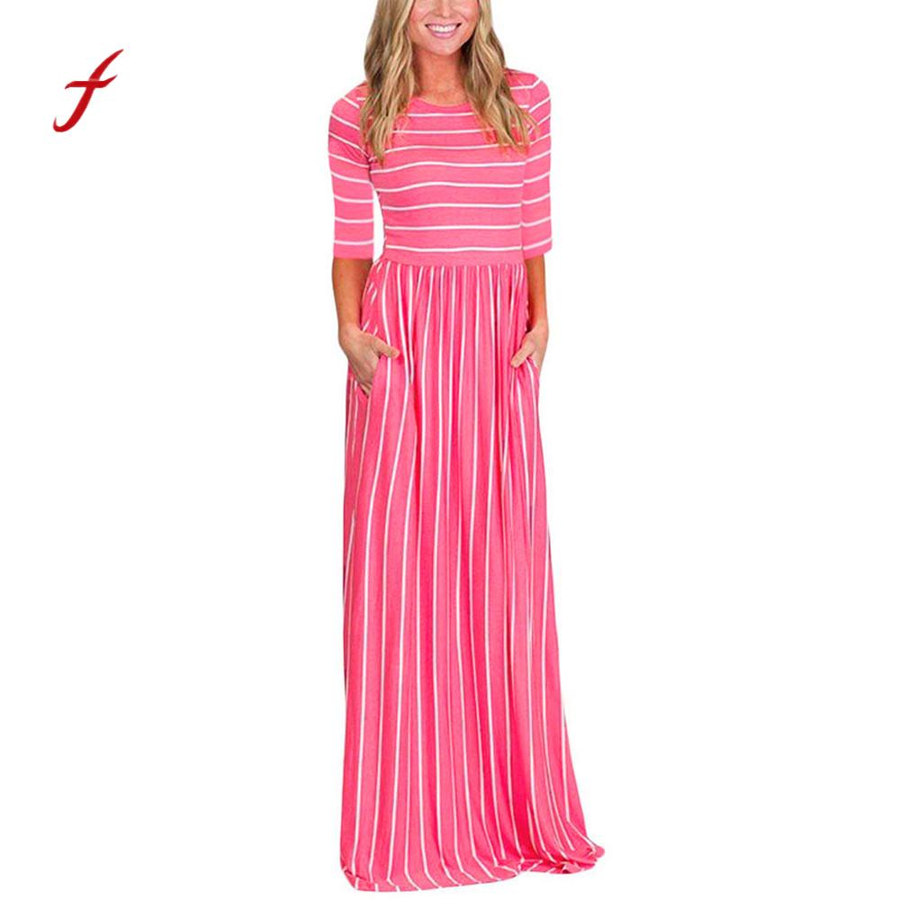 Feitong 2018 Autumn Maxi Dress Women Three Quarter Sleeve Stripe Elastic Waist Pocket Casual Party Dresses vestidos mujer /PY