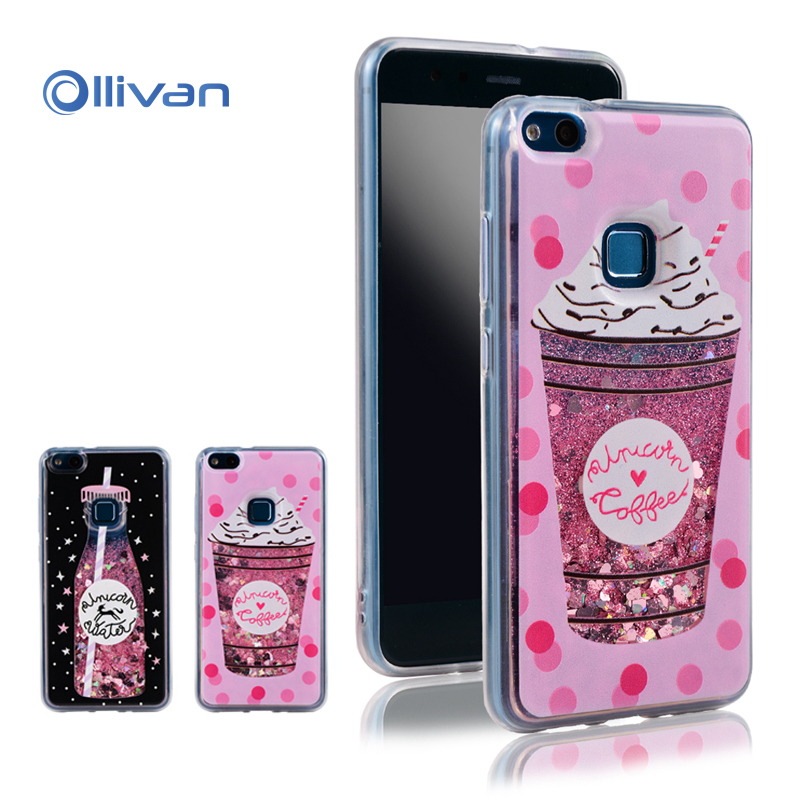 Ollivan phone case for Huawei P10 Lite phone filp case quicksand bottle silicone glitter liquid case protector cover cute gift