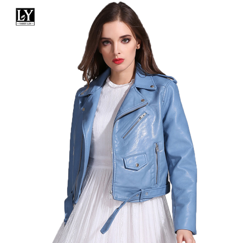 Ly Varey Lin Faux Soft   Leather   Jacket Coat Women Turn-down Collar Pu   Leather   Motorcycle Lady Short Zipper Pink Black Punk Coats