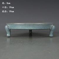 Antique династии Сун фарфора мыть, Комплект синего цвета большой три ноги мыть, ручная роспись ремесла, предметы интерьера, коллекция и украшен