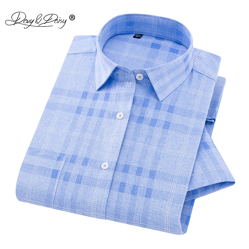 DAVYDAISY  High Quality Summer Short Sleeve Shirt Men Plaid Print Casual Imitation Linen Shirts Male Clothing 14 Colors DS-232
