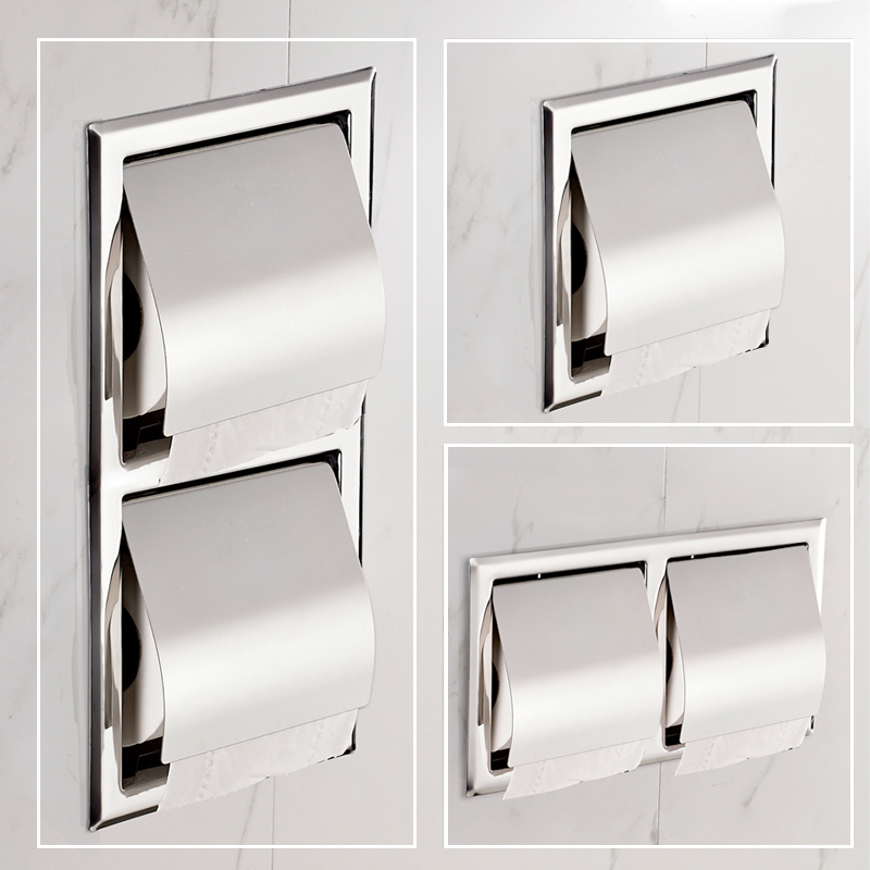 304 Stainless Steel Concealed Towel Rack Embedded In Wall Toilet Roll Holder Hotel Construction Paper Holder