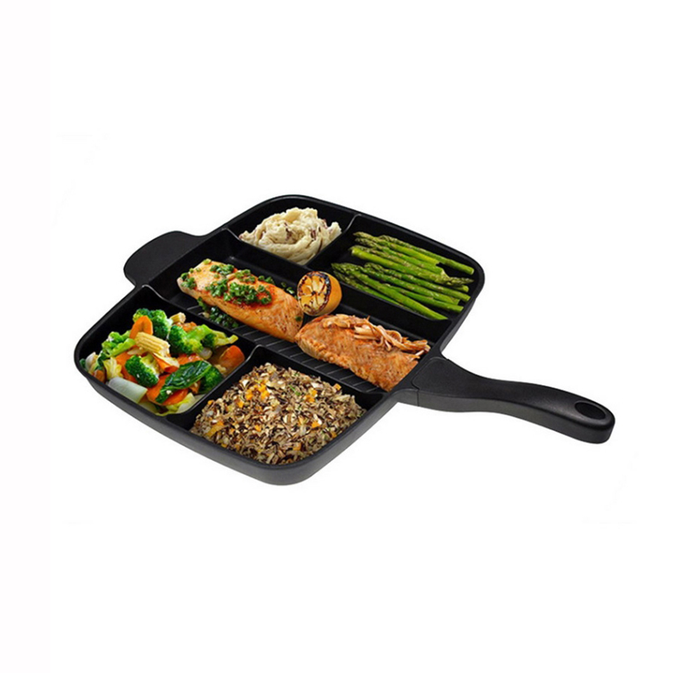 Transhome 5 in 1 Magic Frying Pan Master Non-Stick Divided Grill Pan Chefs Fry Oven Meal Skillet baking Cookware