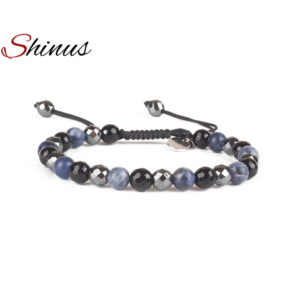 Shinus Bracelet Men Jewelry Women Charms Bracelets Mala Beads Delicate Pulseira Unisex Black Friendship Gifts Adjustable Hand