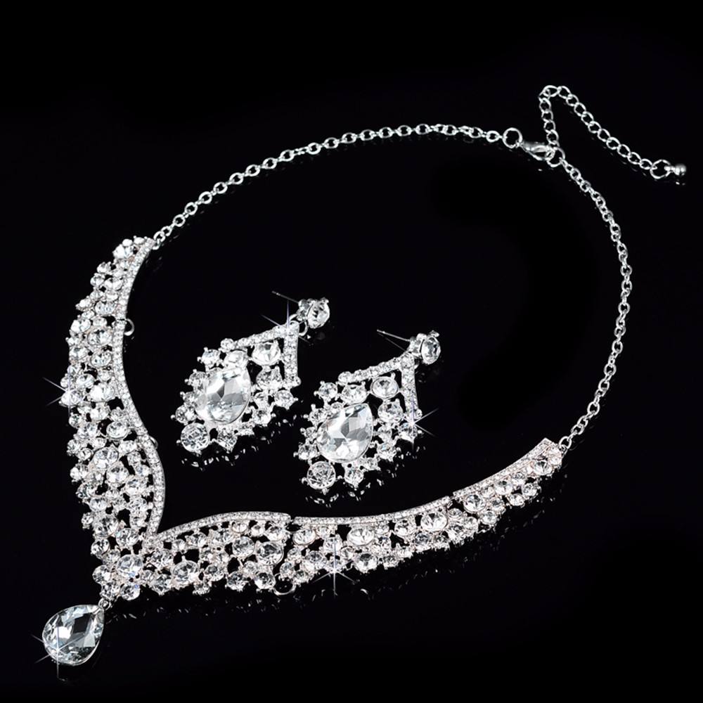 V necklace and earrings luxury crystal jewelry sets wedding engagement bijouterie romantic vintage cz diamond embroidery decoration D022 (2)