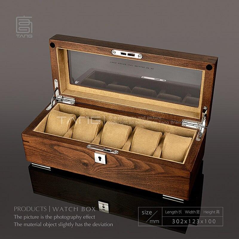 تانغ 5 فتحات ووتش تخزين حالات مربع الرجال البني خشبية علب عرض حالة مع قفل النساء مجوهرات مربع مع نافذة B058-في علب الساعات من ساعات اليد على  مجموعة 1