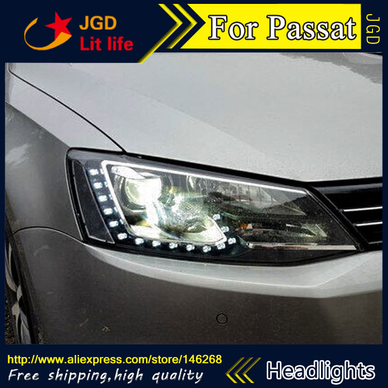 купить Free shipping ! Car styling LED HID Rio LED headlights Head Lamp case for VW Passat 2009-2013 Bi-Xenon Lens low beam недорого