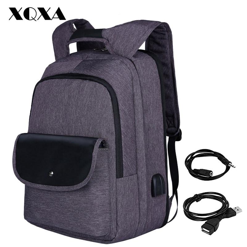 XQXA USB Backpack 17.3 Men Laptop Bagpack Patchwork Women Back Pack Bag Water-Resistant Oxford School Bag for Teenagers