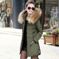 2016 Winter Women Cotton Coat Fashion Slim Outerwear Plus Size Fur Hooded Collar Solid Full Sleeve Casual Korean Jacket YJ895