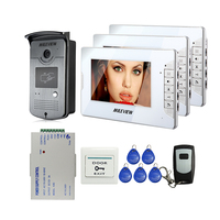 Brand New 7 Color Screen Video DoorPhone Intercom System 3 Monitors 700TVL RFID Access Camera Remote