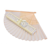 1 Pc Plain Color Folding Chinese Bamboo Polyester Handheld Fan Fashion Party Decoration Wedding Favors Guests Gifts
