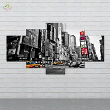 New York Times Square 5 Pieces Wall Art Paintings Picture Print on Canvas for Home Decoration Wall Art Picture for Living Room between home декоративная подушка new york times beige