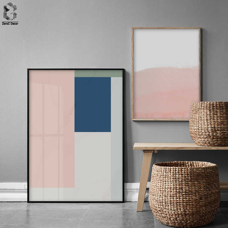 Nordic Style Coral Pink and Blue Geometric Art Canvas Abstract Painting Wall Art Poster and Print Picture Modern Home Decoration