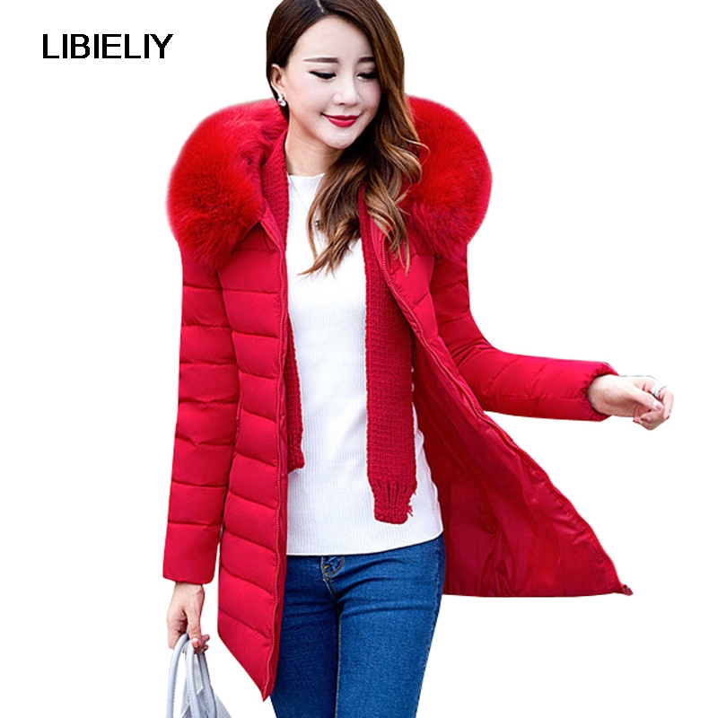 Nice Plus Size XL-7XL Parkas Jacket Women Winter Coats Medium-long Fur Collar Thick Solid Hooded Down  Cotton Padded Warm Coats 2017 new fur collar parkas women winter coats medium long thick solid hooded down cotton female padded jacket warm slim outwear