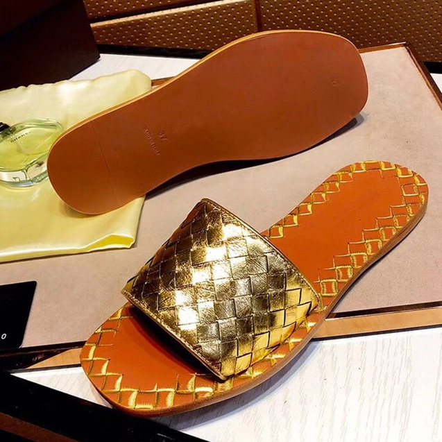 Gold Sewing Woman Slipper Plus Size 35-40 Black Silver Open Toe Beach Slippers Genuine Leather Rubber Outsole Casual Women Flats