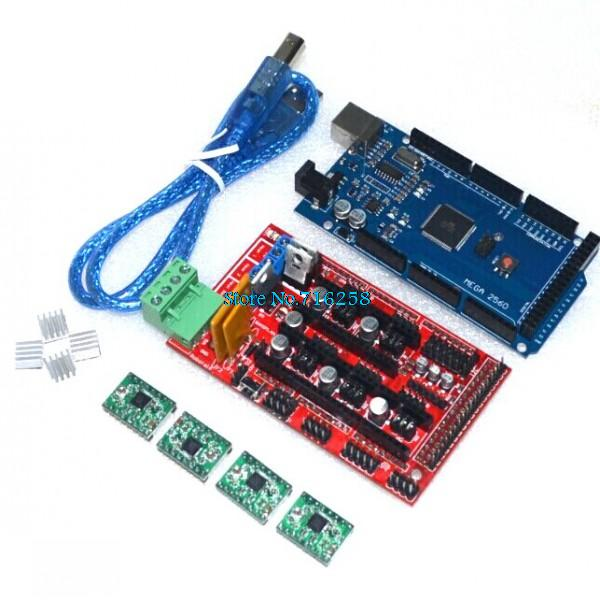 1pcs Mega 2560 R3 for arduino + 1pcs RAMPS 1.4 Controller + 4pcs A4988 Stepper Driver Module 3D Printer kit Reprap MendelPrusa
