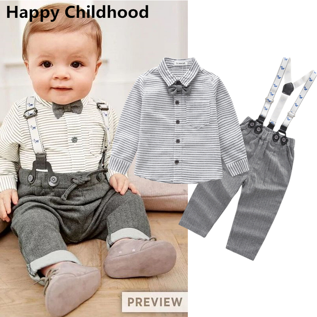 2f9c88219df 2017 New Spring Baby Boy Clothes 2pcs gentleman clothing for babies striped  shirt+bib pants