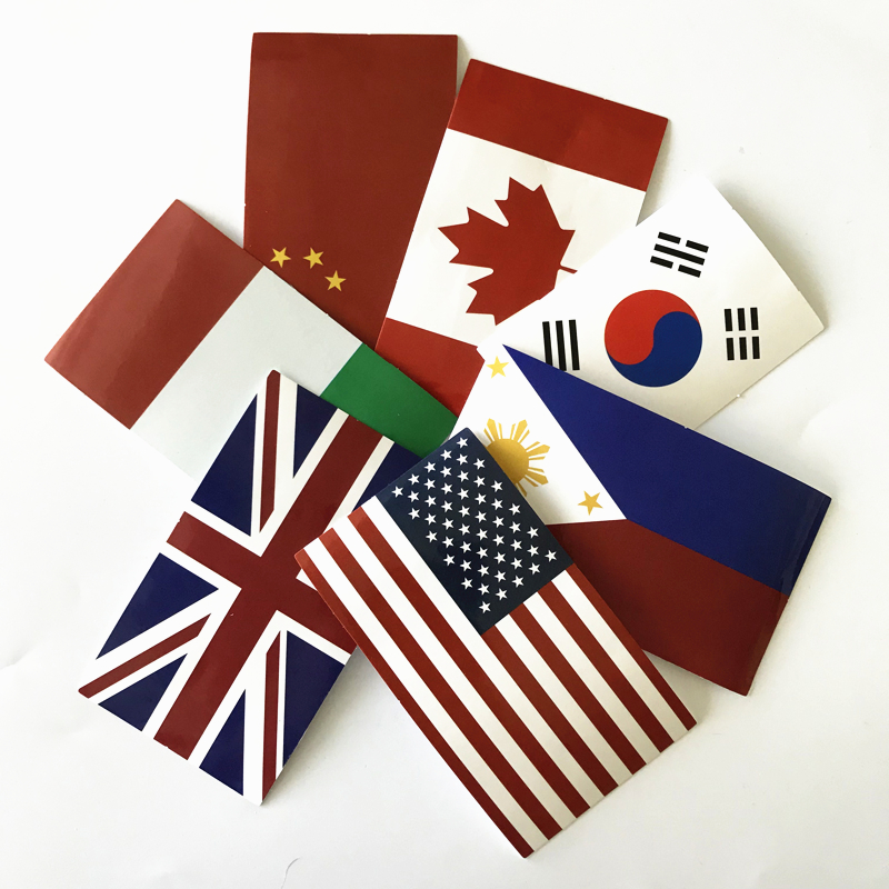 TD ZW 7Pcs/Lot National Flag Stickers Decal For For Snowboard Laptop Luggage Car Fridge Car- Styling Sticker Pegatina