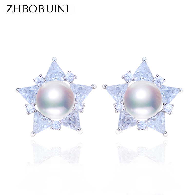 ZHBORUINI 2019 Pearl Earrings 925 Sterling Silver Pearl Jewelry For Women Natural Freshwater Pearl Star Earrings Jewelry Gift