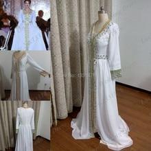 Wholesale 2016 Islamic Clothing For Women Formal Eveninig Gowns Muslim Abaya For Sale Long Sleeve White Kaftan Prom Dresses