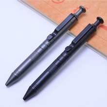 Aluminum alloy tactical outdoor pen high hardness self-defense anti-skid military survival tactical signature pen automatic gift