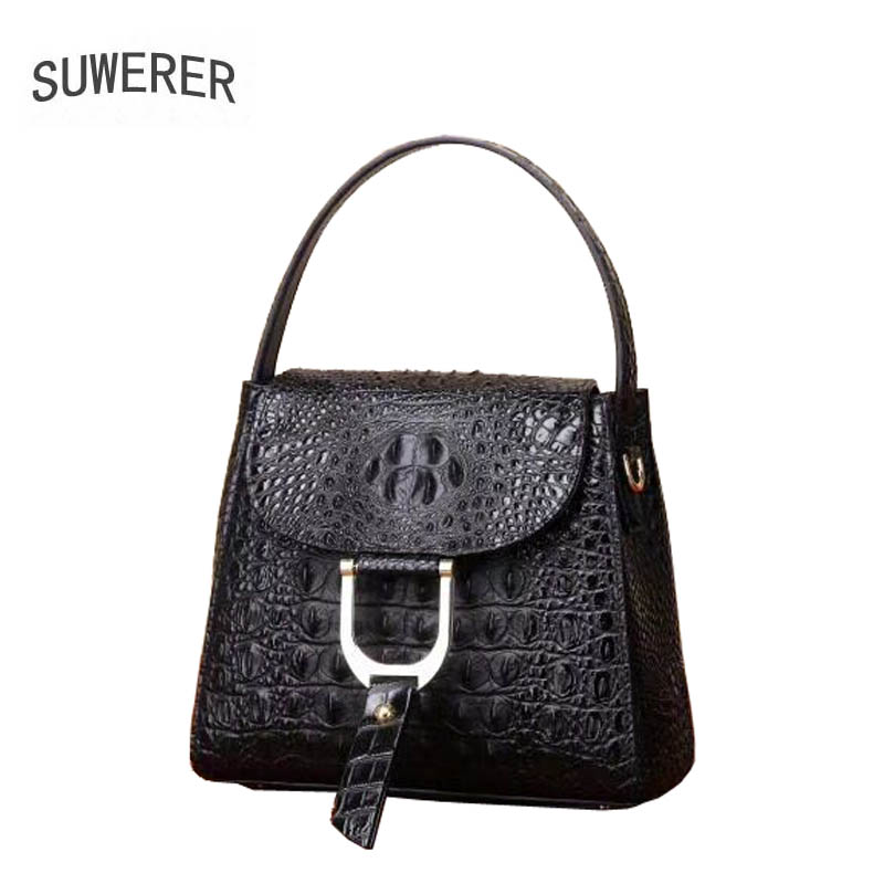 2019 New women genuine leather bag brands fashion Embossed crocodile pattern cowhide small bag women handbags leather art bag